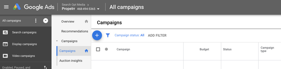 Create a new campaign in Google AdWords