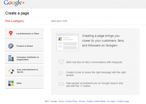 Google+ create business page