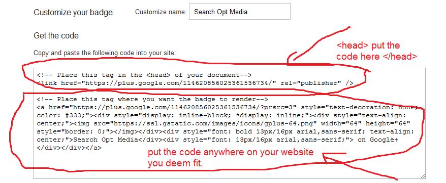 google+ get badge copy paste source code