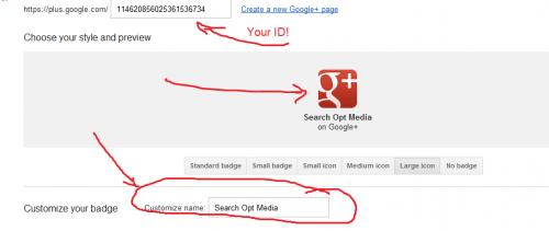 google+ get badge customize