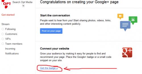 google+ get badge