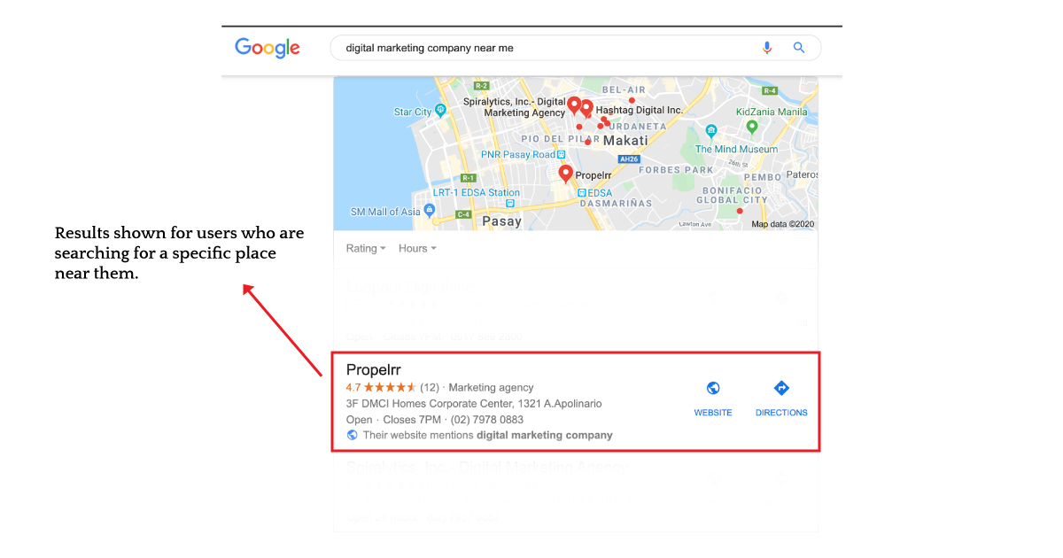 physical navigational search intent