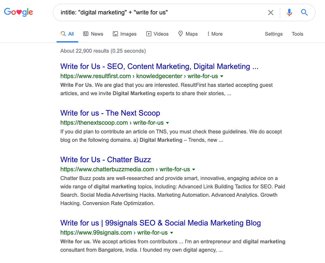 Example of link-prospecting queries
