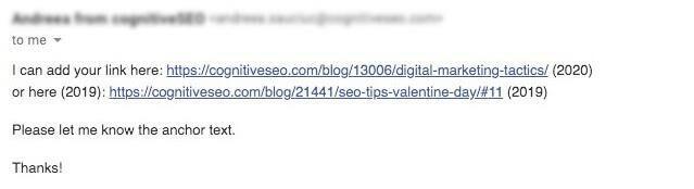 broken link building email example