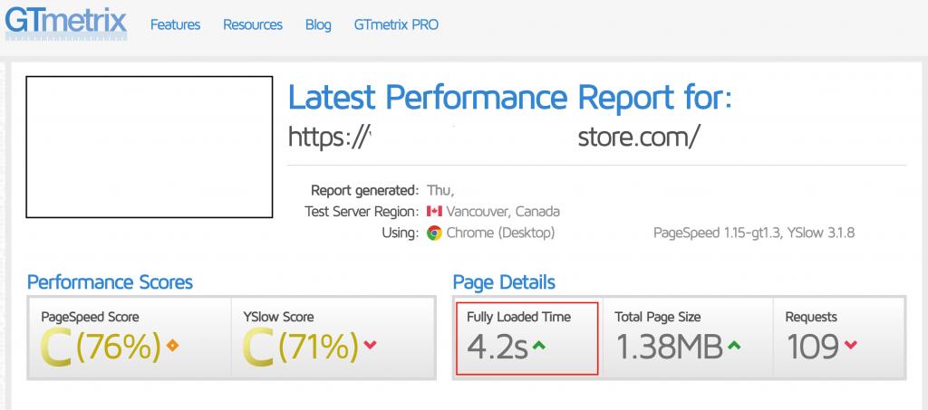 website speed example