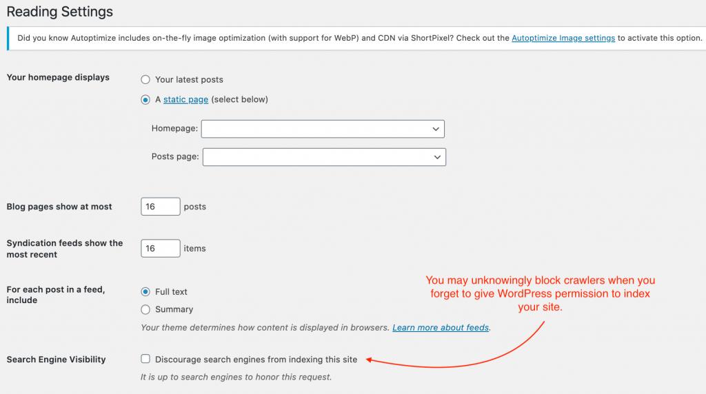 enable wordpress indexing