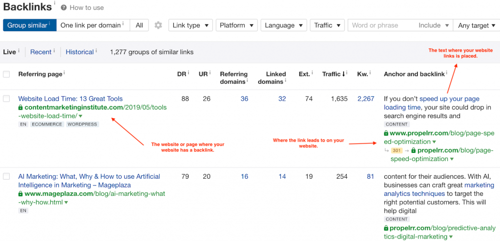 example of backlink profile