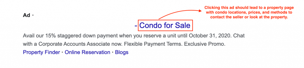 sample of relevant search ads