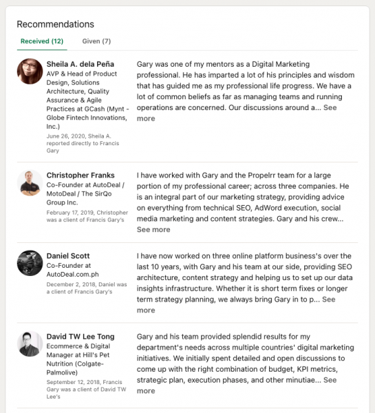 Screenshot of LinkedIn Recommendations