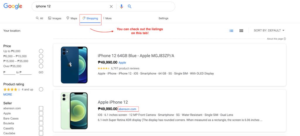 Google SERP shopping tab