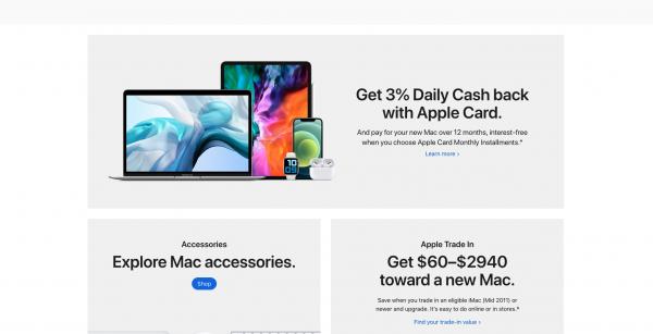apple mac landing page