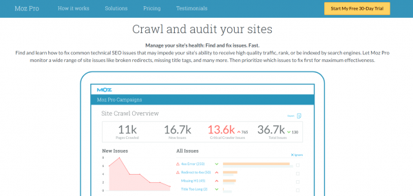 moz site audit and crawl