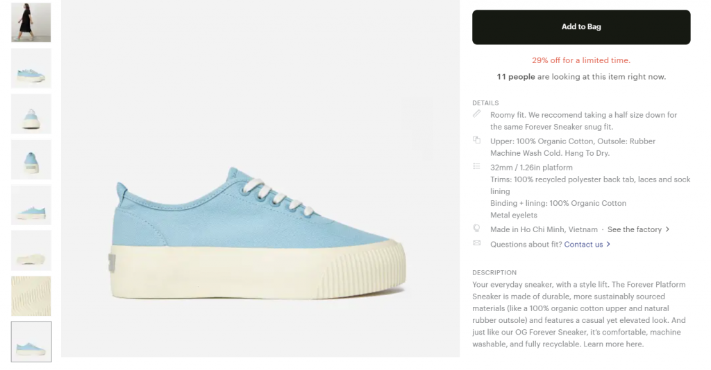 Product page from Everlane's ecommerce website showing the description of a shoe