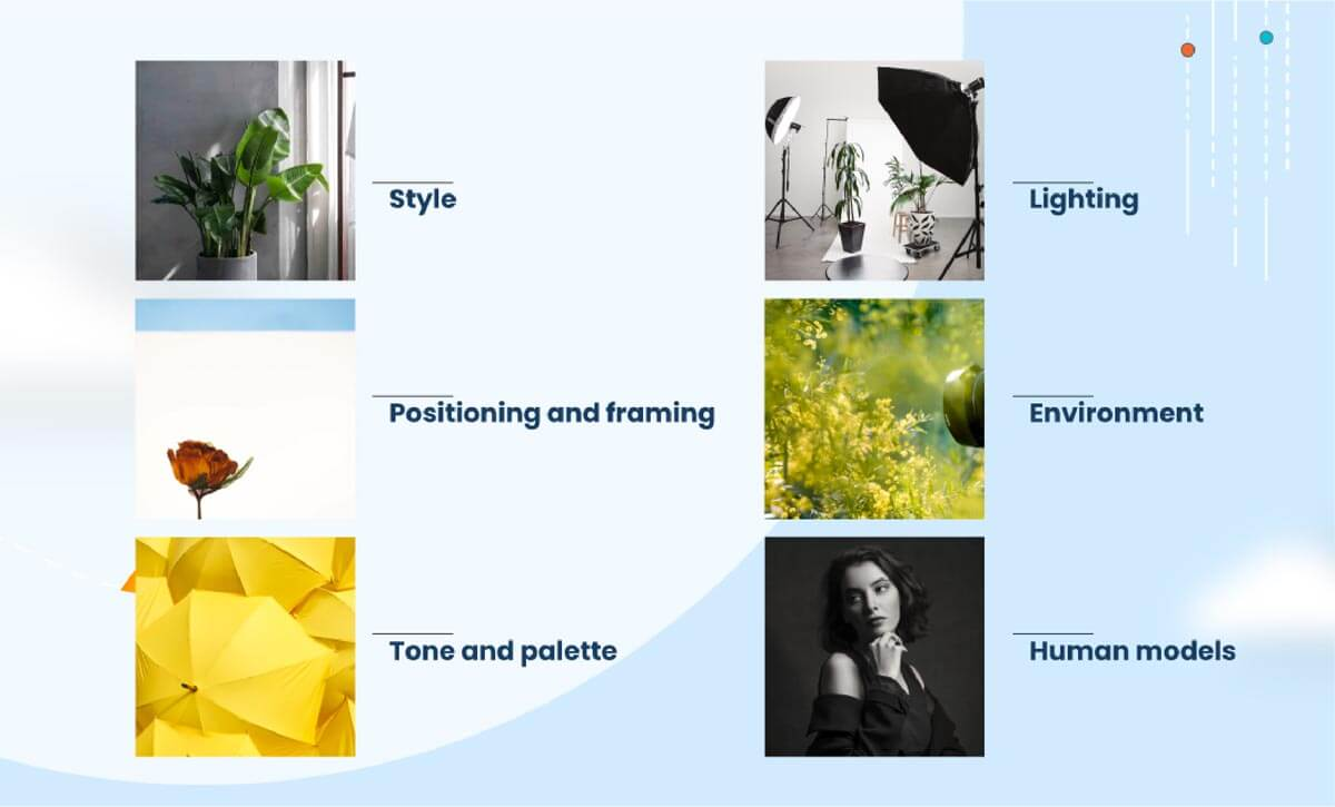 Good photography elements - style, lighting, positioning and framing, environment, tone and plette, human models