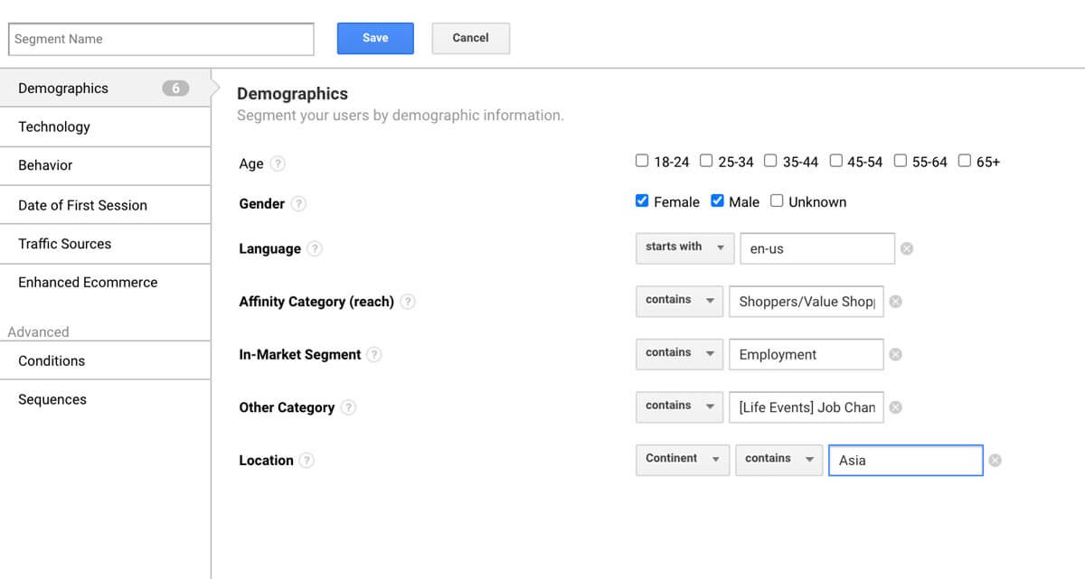 Google Analytics dashboard - Audience Segments