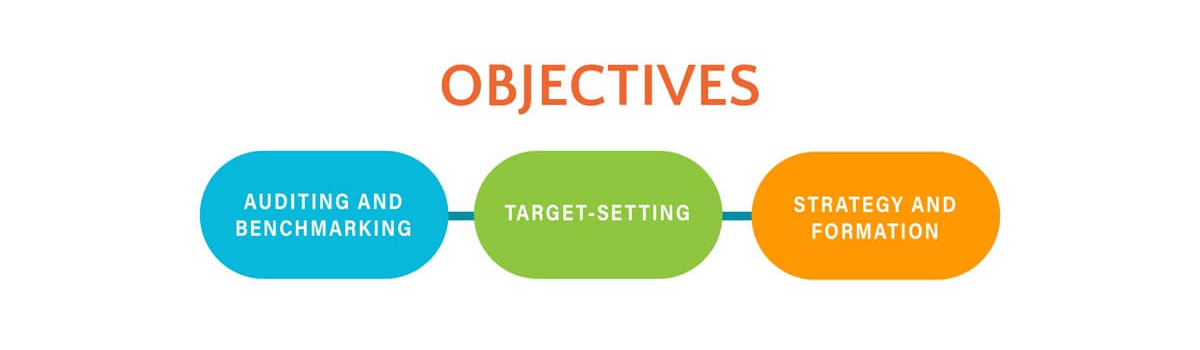 Objectives - auditing and benchmarking, target-setting, strategy and formation