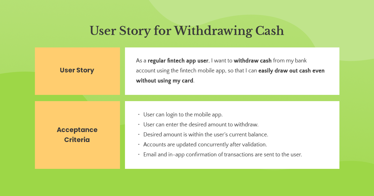 withdrawing cash user story