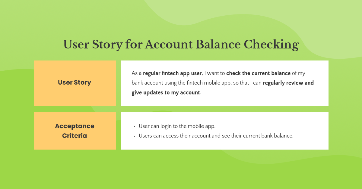 checking account balance user story