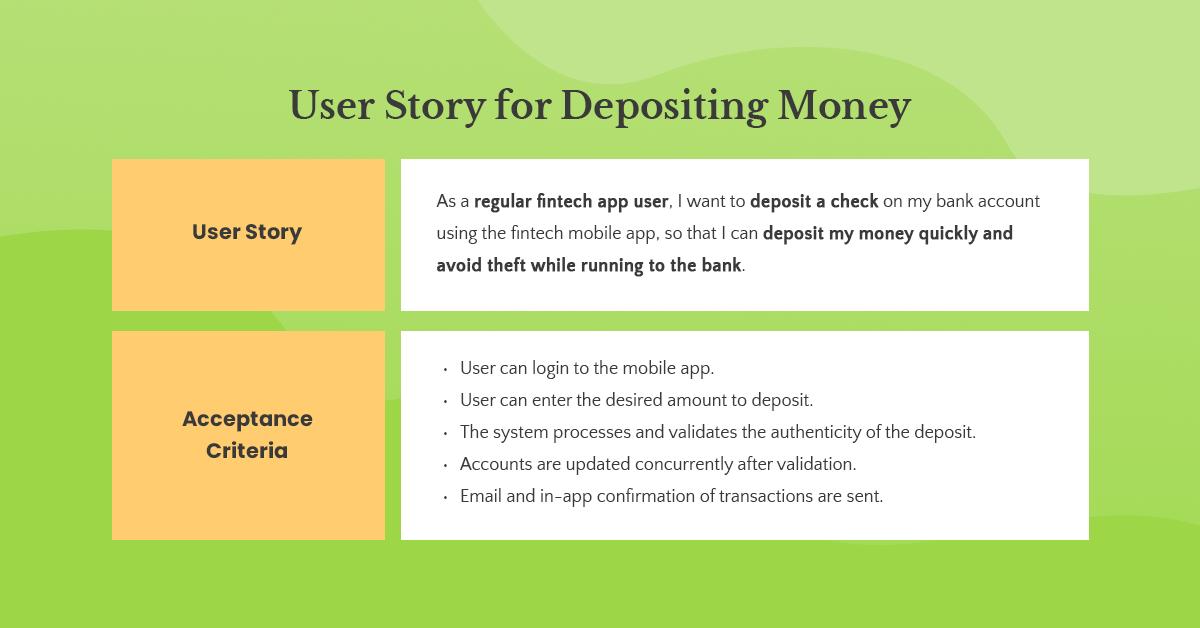 depositing money user story