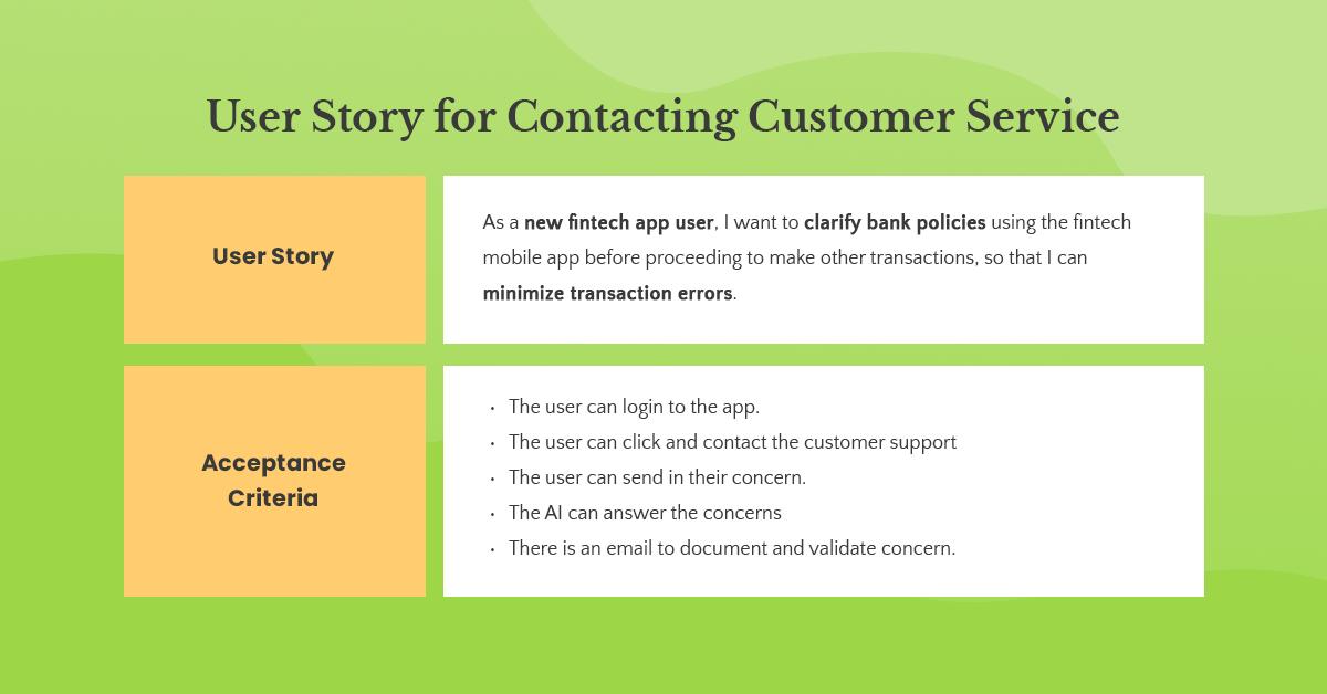 customer support user story