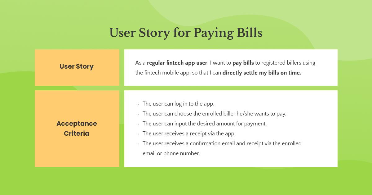 paying bills user story