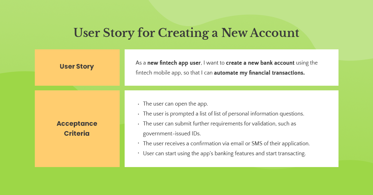 account creation user story