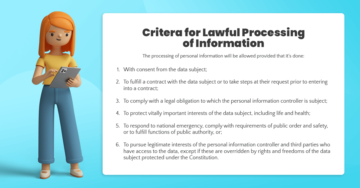 Criteria for Lawful Processing of Information as outlined in the Philippines' Data Privacy Act of 2012