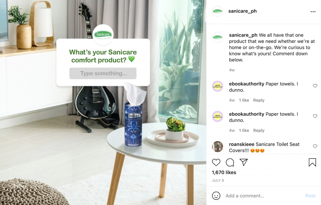 Example of a social commerce post with high engagement
