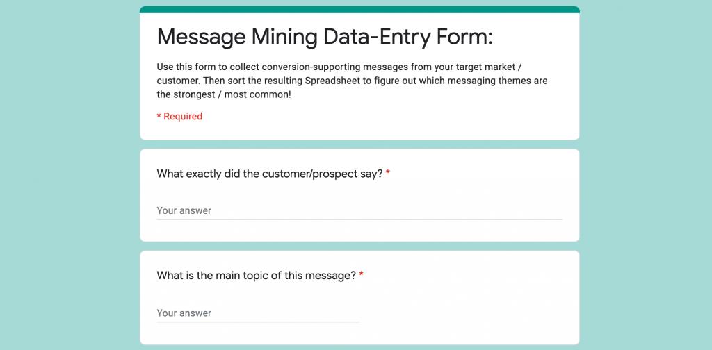 message mining form