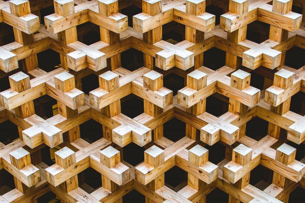 Blockchain Wooden Puzzle Pile Woods